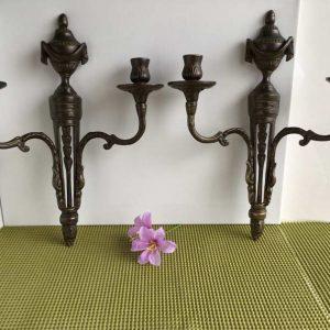 Paire chandeliers muraux métal