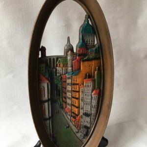 Cadre oval résine ville pamoramique vintage
