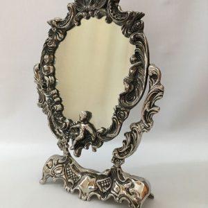 Miroir argenté inclinable sur pied