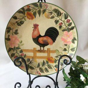 Grande assiette décorative / Coq sur clôture
