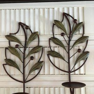 Duo Bougeoirs muraux métal Feuilles d'olivier